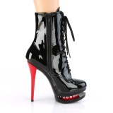 Red Black 15,5 cm BLONDIE-R-1020 lace up platform ankle boots in patent