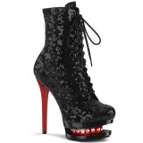 Red Black 15,5 cm BLONDIE-R-1020 lace up platform ankle boots in sequins