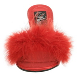 Red Feathers 8 cm AMOUR-03 High Women Mules Shoes for Men