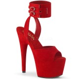 Red Leatherette 18 cm ADORE-791FS pleaser high heels with ankle straps
