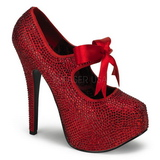 Red Rhinestone 14,5 cm Burlesque TEEZE-04R Platform Pumps Women Shoes