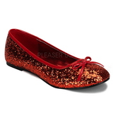 Red STAR-16G glitter flat ballerinas womens shoes
