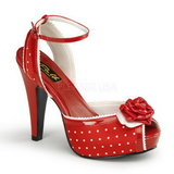 Red Satin 12 cm PINUP retro vintage BETTIE-06 High Heels Platform