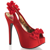 Red Satin 14,5 cm Burlesque TEEZE-56 Platform High Heeled Sandal Shoes