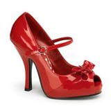 Red Shiny 12 cm CUTIEPIE-08 Platform Pumps Open Toe