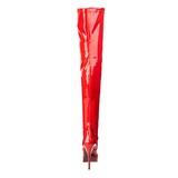 Red Shiny 13,5 cm INDULGE-3000 Platform Over Knee Boots