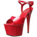 Red Shiny 18 cm ADORE-709 High Heels Platform