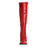 Red Shiny 8,5 cm GOGO-300 High Heeled Womens Boots for Men