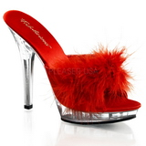 Red Transparent 13 cm Fabulicious LIP-101-8 Platform High Mules