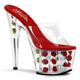 Red Transparent 18 cm ADORE-701FL Platform High Mules
