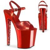 Red chrome platform 20 cm XTREME-809TTG pleaser high heels shoes