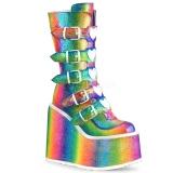 Regnbåge Glitter 14 cm SWING-230 cyberpunk platåstövlar