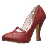 Röd 10 cm SMITTEN-20 Pinup pumps skor med låg klack