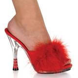Röd 12,5 cm GLITZY-501-8 Maraboufjädrar Höga Slip in skor