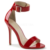 Röd 13 cm Pleaser AMUSE-10 högklackade sandaletter