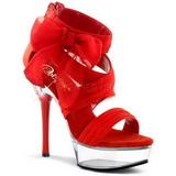 Röd 14 cm Pleaser ALLURE-664 Sandaler med klack