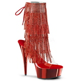 Röd 15,5 cm DELIGHT-1017RSF dam stövletter med fransar hög klack