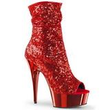 Röd 15 cm DELIGHT-1008SQ dam stövletter med paljetter