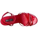 Röd 15 cm DOMINA-108 fetish sandaler med stilettklack