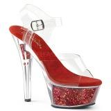 Röd 15 cm KISS-208GF glittriga platå sandaler skor