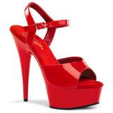Röd 15 cm Pleaser DELIGHT-609 Högklackade Sandaletter