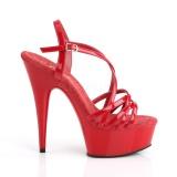Röd 15 cm Pleaser DELIGHT-613 Högklackade sandaletter med platå