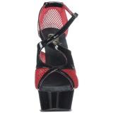 Röd 15 cm Pleaser DELIGHT-652 Högklackade sandaletter med platå