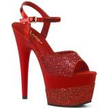 Röd 18 cm ADORE-709-2G glitter platå high heels