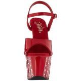 Röd 18 cm ADORE-709VLRS platå klackar skor med strass stenar