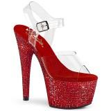Röd 18 cm BEJEWELED-708DM platå klackar skor med strass stenar