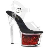 Röd 18 cm SKY-308WHG glitter platå high heels