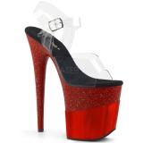 Röd 20 cm FLAMINGO-808-2HGM glittriga klackar platå sandaler skor