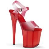Röd 20 cm FLAMINGO-808N-T pleaser platåsandaletter för kvinnor