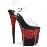 Röd 20 cm FLAMINGO-808SS glitter platå klackar skor