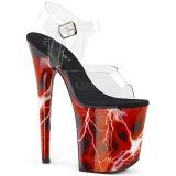 Röd 20 cm FLAMINGO-808STORM Hologram platå klackar skor