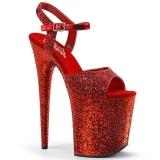 Röd 20 cm FLAMINGO-810LG glitter platå high heels