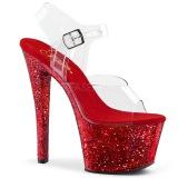 Röd 20 cm SKY-308LG glittriga platå klackar skor