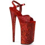 Röd 25,5 cm BEYOND-010LG glitter platå klackar skor