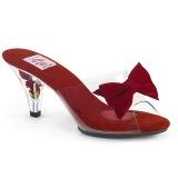 Röd 7,5 cm BELLE-301BOW Pinup mules skor med fluga
