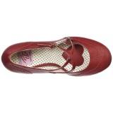 Röd 7,5 cm FLAPPER-35 Pinup pumps skor med låg klack