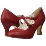 Röd 7,5 cm retro vintage FLAPPER-35 Pinup pumps skor med låg klack