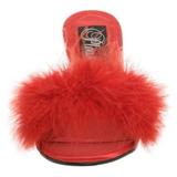 Röd 8 cm AMOUR-03 Maraboufjädrar Höga Slip in skor