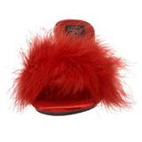 Röd 8 cm BELLE-301F Maraboufjädrar Höga Slip in skor
