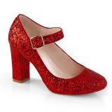 Röd 9 cm SABRINA-07 pumps skor med blockklack