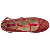 Röd Glitter 10 cm QUEEN-01 stora storlekar pumps skor
