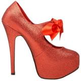 Röd Glitter 14,5 cm Burlesque TEEZE-04G damskor med hög klack
