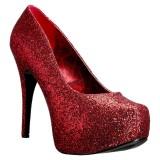 Röd Glitter 14,5 cm Burlesque TEEZE-06GW pumps för män med breda fötter