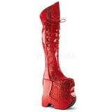 Röd Glitter 22 cm FABULOUS-3035 Overknee Stövlar för Drag Queen