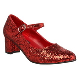 Röd Glitter 5 cm SCHOOLGIRL-50G Pumps Mary Jane
