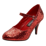Röd Glitter 7,5 cm GLINDA-50G Pumps Mary Jane